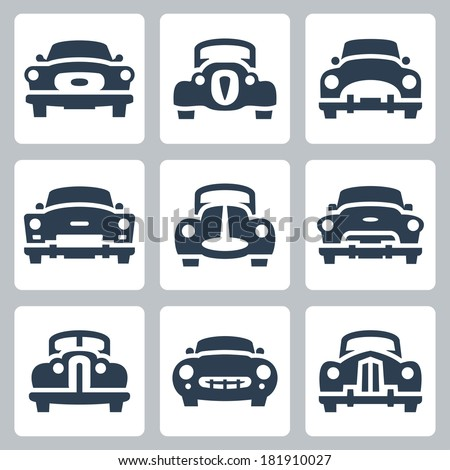 vector old cars icons set