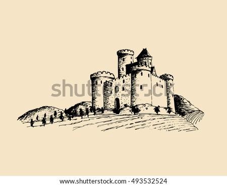 vector old castle illustration