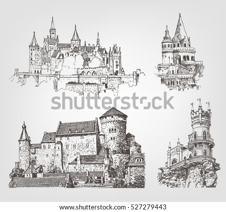 vector old castle illustrations