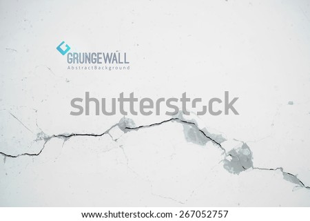 vector old cracked wall, grunge background with logo and sample text Stock fotó ©