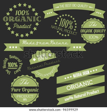 Vector Old dark green retro vintage elements for organic natural items
