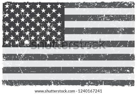 Vector old dirty flag of United States #1240167241