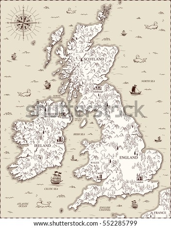 vector old map  great britain