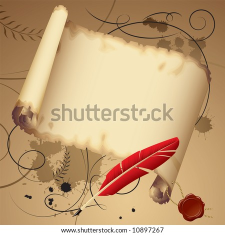 Vector old parchment with a red feather - stock vector