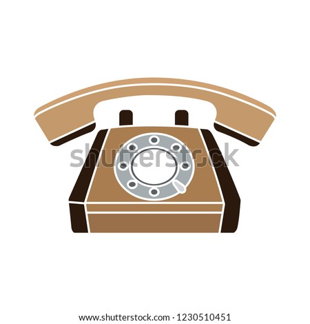 vector old phone isolated icon - hotline communication illustration sign . antique telephone sign symbol