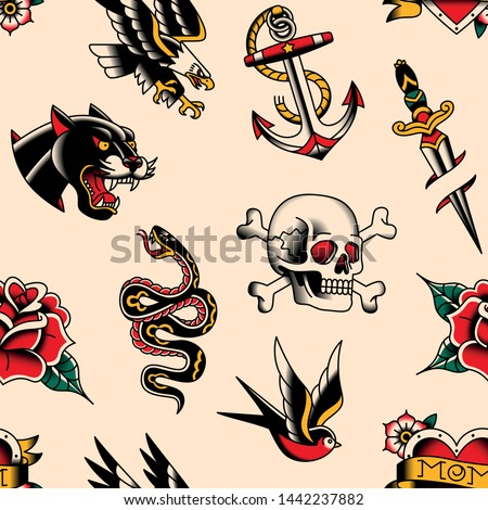 Vector Old School Tattoo Designs Seamless Pattern