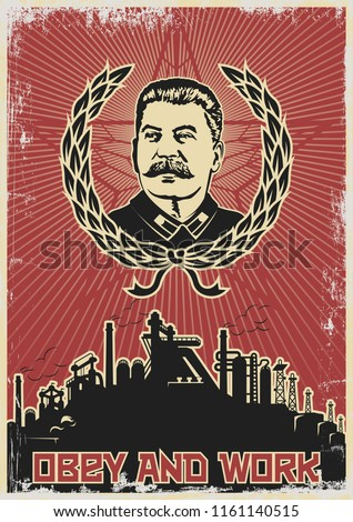 Vector Old Soviet Propaganda Poster Stylization Stock photo ©