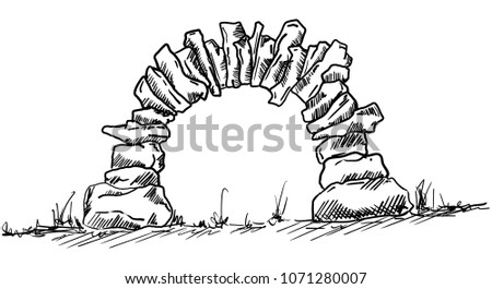 vector   old stone entrance