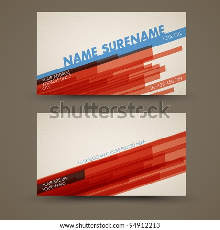 Vector old-style retro vintage business card - both front and back side - stock vector
