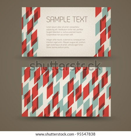 Vector old-style retro vintage card - both front and back side