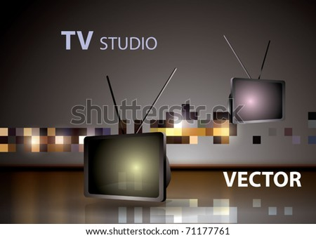 Vector Old Style TV . TV Studio