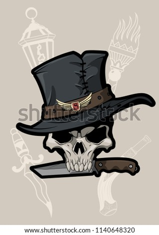 vector old time robber's skull