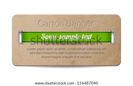 Vector old vintage paper / cardboard banner with two metallic decorated perforations and green ribbon