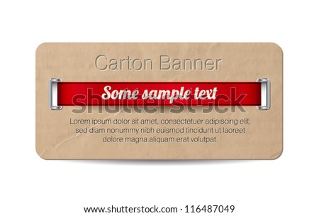 Vector old vintage paper / cardboard banner with two metallic decorated perforations and red ribbon