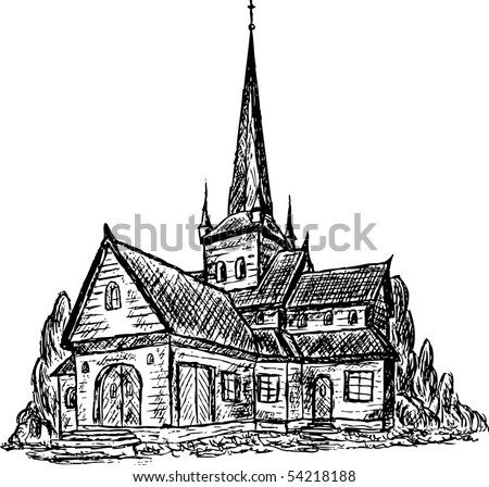 vector - old wooden chapel isolated on background