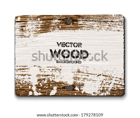 Vector old wooden rectangular sign with two nails and grungy white paint