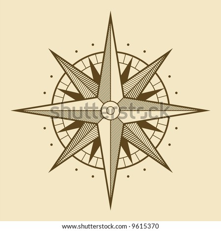 stock vector : Vector oldstyle wind rose compass
