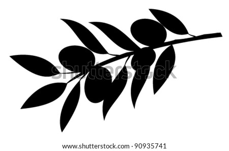 vector olive branch silhouette