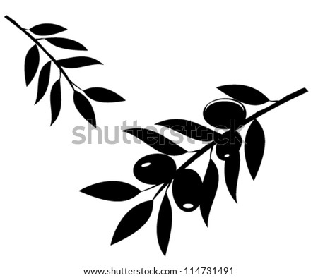 vector olive branches silhouette isolated on white