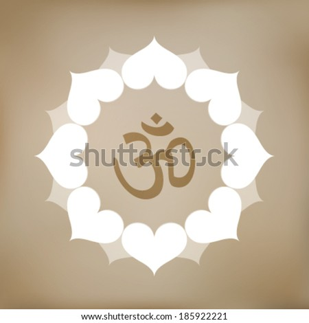 Vector Om Symbol with Flower Illustration