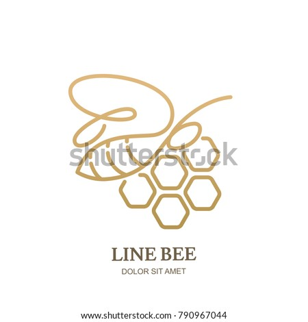 Vector one line logo icon or emblem with golden honeybee and honeycombs. Abstract modern design template. Outline bee illustration. Concept for honey package design.