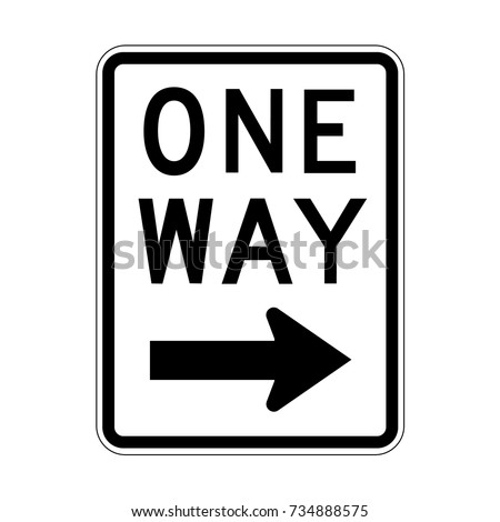 Vector One Way Sign Icon, Right Sign