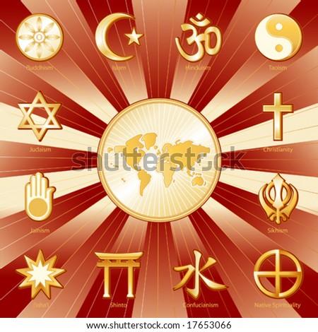 vector - One World, Many Faiths, Globe Map, 12 international religions. Top left: Buddhism, Islam, Hindu, Taoism, Christianity, Sikh, Native Spirituality, Confucianism, Shinto, Baha'i, Jain, Judaism.