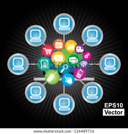 Vector : Online Business and E-Commerce Concept Present By Computer Laptop With Group of Colorful E-Commerce Icon Connected to The Network  in Dark Background