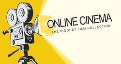Vector online cinema poster with old fashioned movie projector. Vintage retro movie camera with light and video tape. Online cinema concept. Can be used for flyer, banner, poster, web page, background