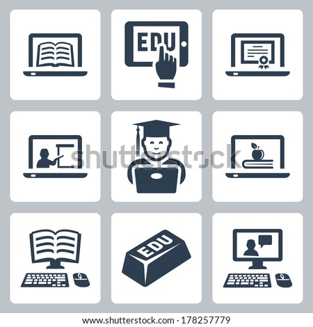 Vector online education icons set #178257779