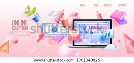 Vector online education, webinar, university, school digital classes web background with laptop, books. Remote lectures, distant streams, exams tutorial platform banner. Online education landing page