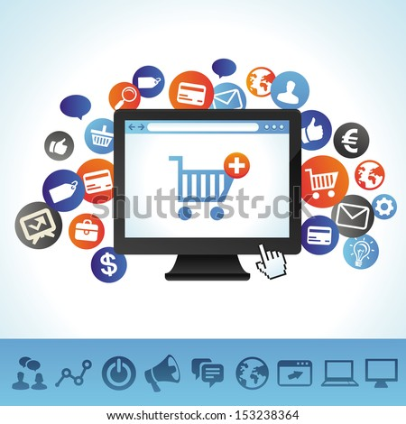 Vector online shopping concept - computer and technology icons