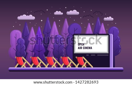 Vector Open Air Cinema. Flat Illustration With chairs And Night outdoor, Romantic Event open air cinema. Web banner advertising the movies in the open air cinema in the Park