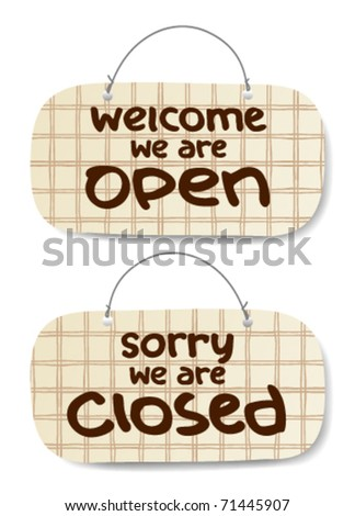 Vector Open and Closed Signs, burberry style