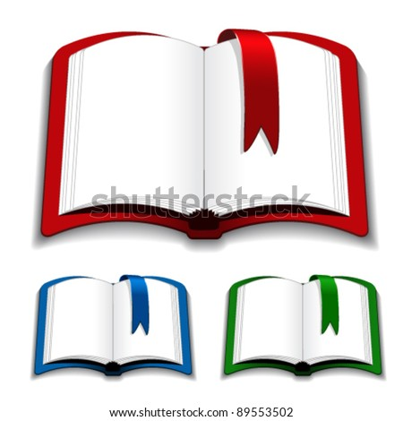 Vector open books with bookmark - stock vector