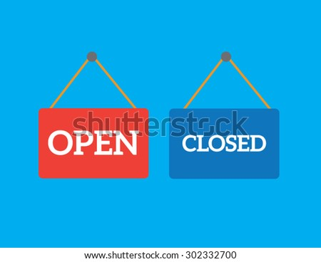 Vector open closed door sign