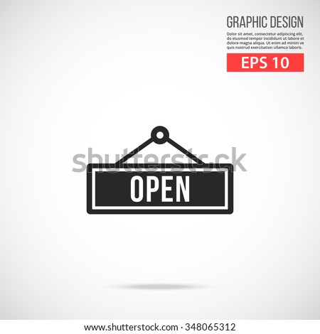 Vector open door sign icon. Black icon. Modern flat design vector illustration, quality concept for web banners, web and mobile applications, infographics. Vector icon isolated on gradient background