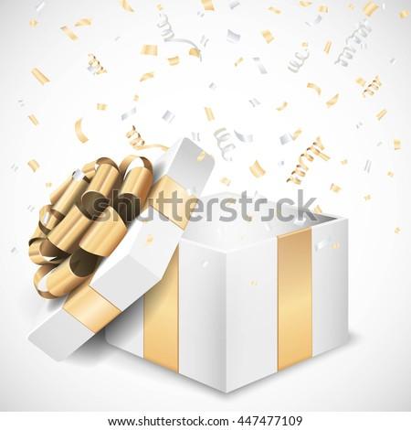 Vector open gift box and confetti