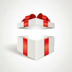 Vector open gift box illustration. Elements are layered separately in vector file.
