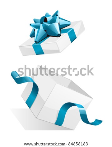 Vector open gift box with glossy blue bow