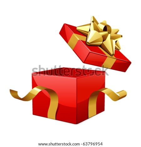 Vector open gift box with glossy gold bow