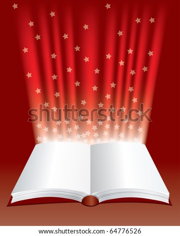 vector open magic book with stars