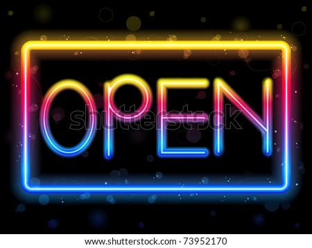 Vector - Open Neon Sign Rainbow Color