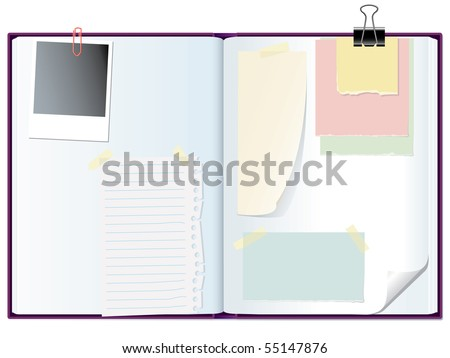 vector open notebook with memo papers