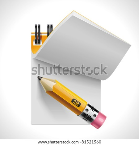 Vector open notepad with pencil XXL icon Stockfoto ©