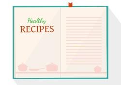 vector open old recipe book. Cook book