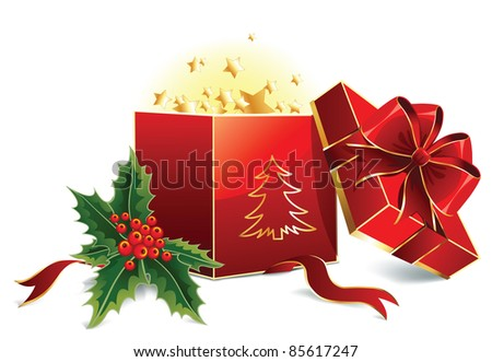 Vector open red christmas box with bow and leaves