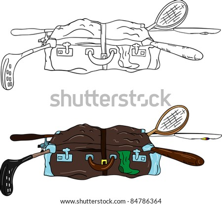 vector - open suitcase full of things, isolated on background