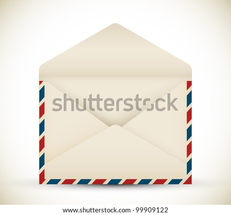 Vector open vintage air mail envelope icon