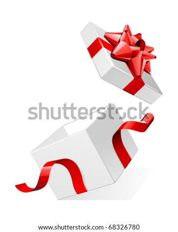 Vector open white gift present surprise box with shiny red bow - stock vector